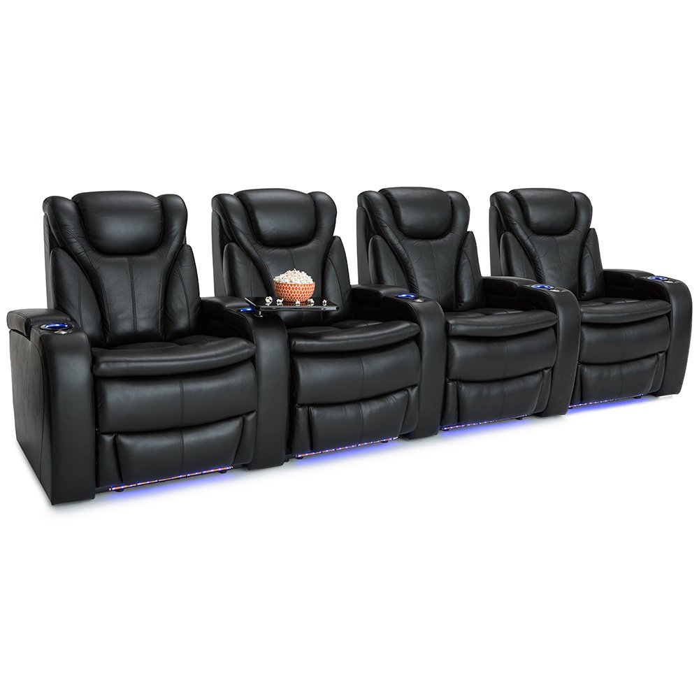 Barcalounger Solaris Leather Power Recline Home Theater Seating Chairs (Row of 4, Black)