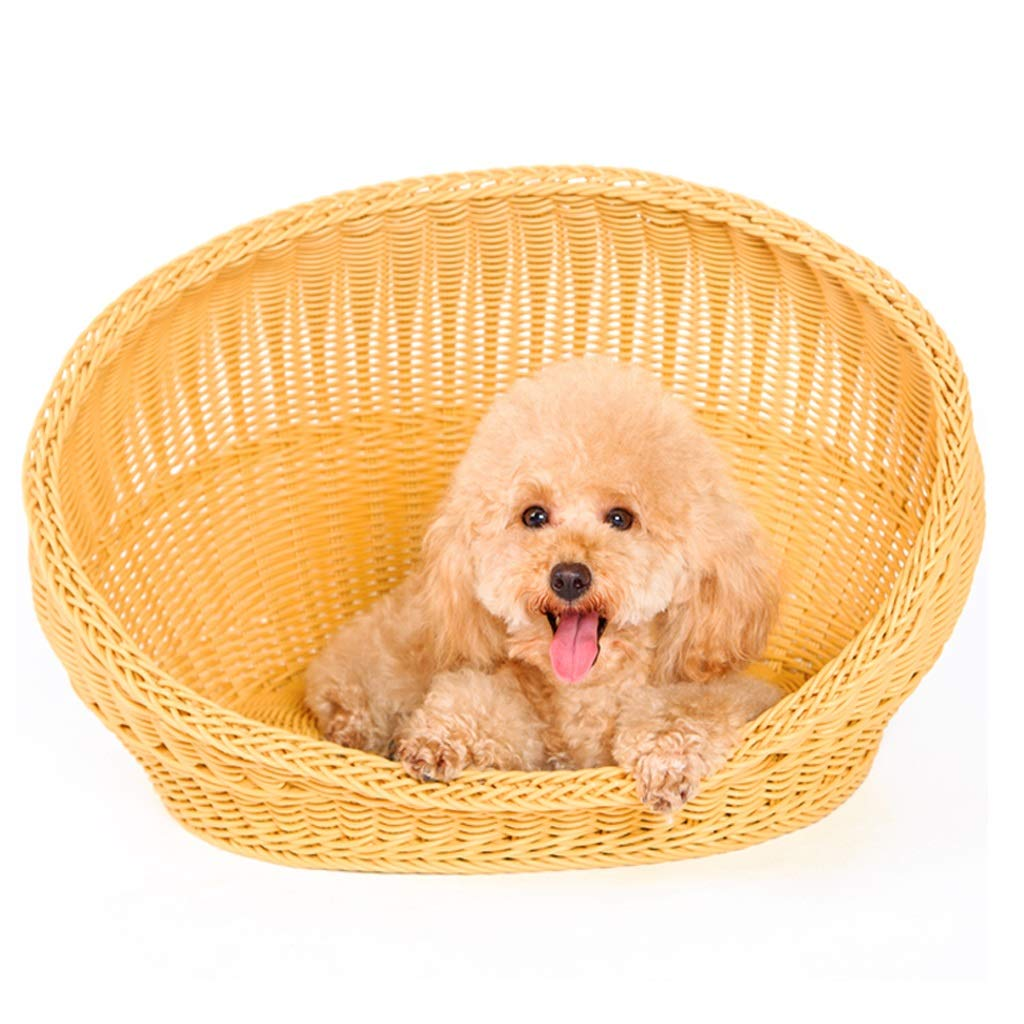 37x26x28cm Pet Bed Dog Cat Bed Cushion Four Seasons Rattan Washable Scratch Proof for Small and Medium Pet (Size   37x26x28cm)