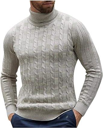 Men Slim Fit Turtleneck Knitwear Tops Winter Warm Casual Jumper Pullover Sweater