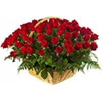 Golden Cart Fresh Flower Delivery of PREMIUM FLOWER BASKET IConvey 'Special Feeling' of 'Pure love & Commitment' to your loved ones (41 Fresh Roses, Red)
