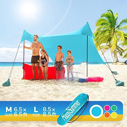 HappySummer Beach Tent sandbag Anchors-The Portable, Lightweight, 100% Lycra SunShelter UV Protection. The Perfect Sunshade Canopy The Entire Family (Turquoise, Medium) (Island Shade Tent)