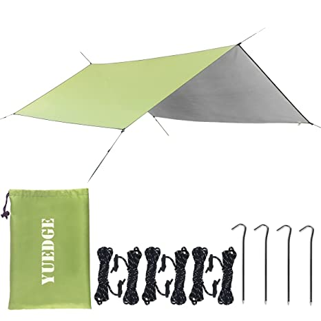 YUEDGE Easy Set Up Portable Waterproof Camping Tarp Shelter Sunshade Rain  Tarp, Largeu003d10