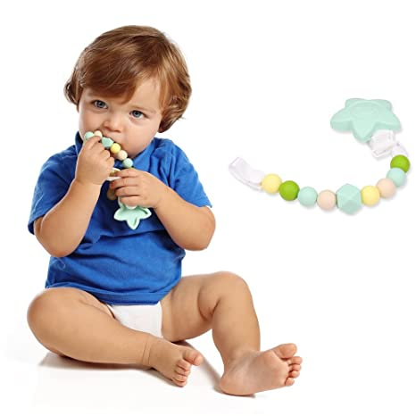 Cadena de clip de chupete de silicona para bebé - Mordedor de ...