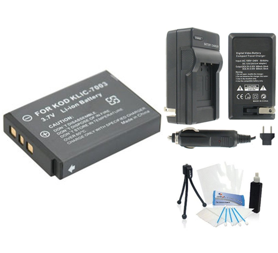 KLIC-7003 High-Capacity Replacement Battery with Rapid Travel Charger for Select Kodak Digital Cameras. UltraPro Bundle Includes: Camera Cleaning Kit, Screen Protector, Mini Travel Tripod
