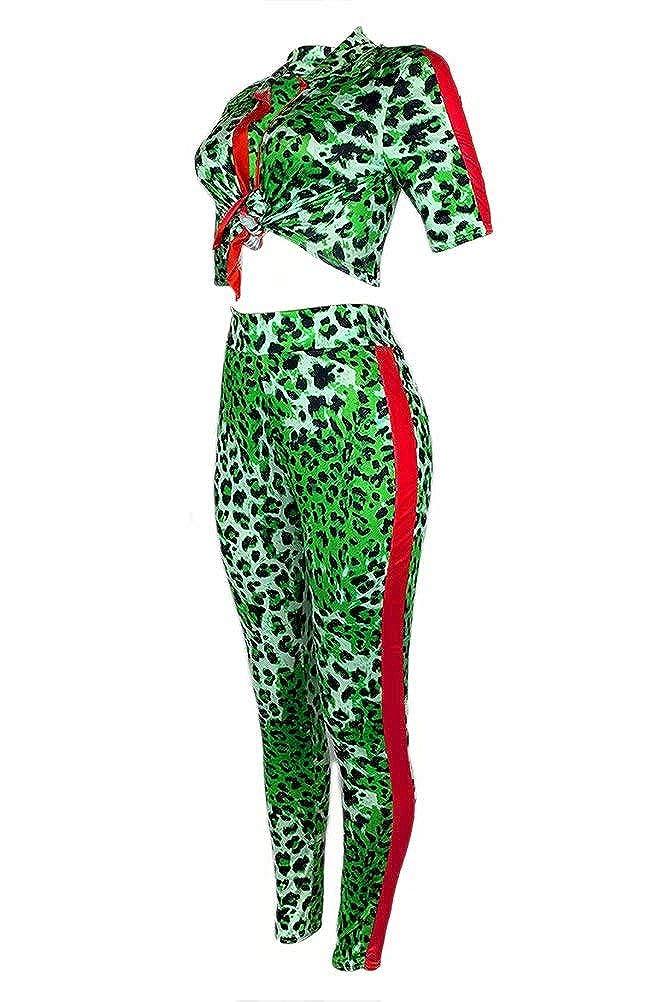 Womens Casual Leopard Print 2 Piece Outfits Short Sleeve V Neck Crop Top High Waist Skinny Long Pants Jumpsuit Set Plus Size
