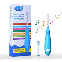 Fairywill cepillo de dientes eléctrico infantil con música inglesa,a pilas,cepillo electrico dientes sonico impermeable 2 cabezas de repuesto para niños,blue.