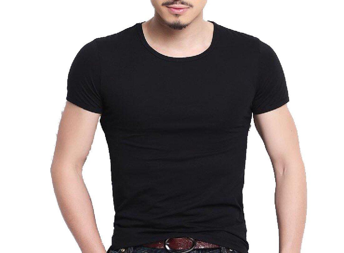 Tootless-Men Short-Sleeve Basic Bodycon Comfort Summer Tees Pullover Top Black 2XL