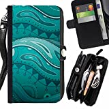 Real Floral Underwater Painting - Flip Credit Card Slots Pu Holster Leather Wallet Pouch Protective Skin Case Cover For Huawei Nexus 6P