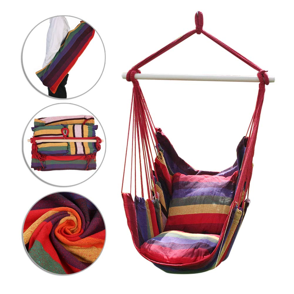 ANPI Hammock Swing Chair, Soft Cushioned Rope Hanging Swing Set, Garden Hanging Rope Hammock Chair Porch Swing Seat with Two Cushions for Yard Porch Patio, Green & Purple Stripes