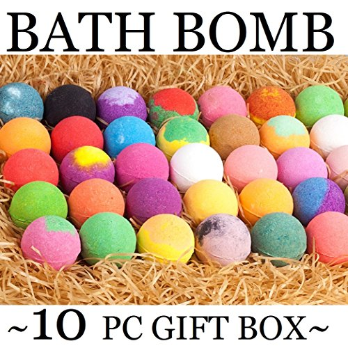 Bath Fizzer Gift - Bath Bombs Gift Set! 10 Lush Bath Bomb Set. Super Sized Natural Bath Fizzers with Organic Ingredients! Perfect for Bubble and Spa Bath Spa Gift basket #1 Gift for Teacher