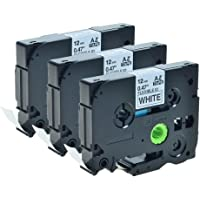 Greencycle 3 PK Laminated Flexible Black on White 1/2 Inch Label Tape Compatible Brother TZeFx231 Tz Tze Fx231