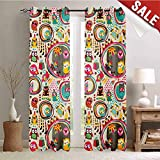 Owl, Window Curtain Fabric, Cartoon Style Funny Avian Animals Design with Colorful Dots and Triangles Forest Doodle, Drapes for Living Room, W108 x L108 Inch Multicolor