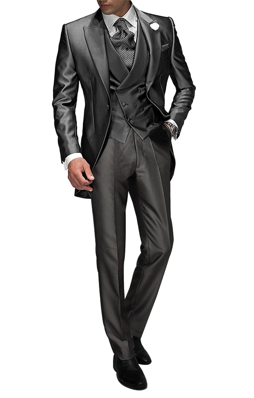 Suit Me Tailored Hombre 3 Piezas Traje para Boda Fiesta Smoking Traje Chaqueta, Chaleco, Pantalones Gris XXXXL