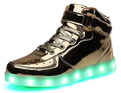 7be499624 SLEVEL LED Light Up Shoes Flashing Sneakers for Kids Boys Girls (SL032GGold34)