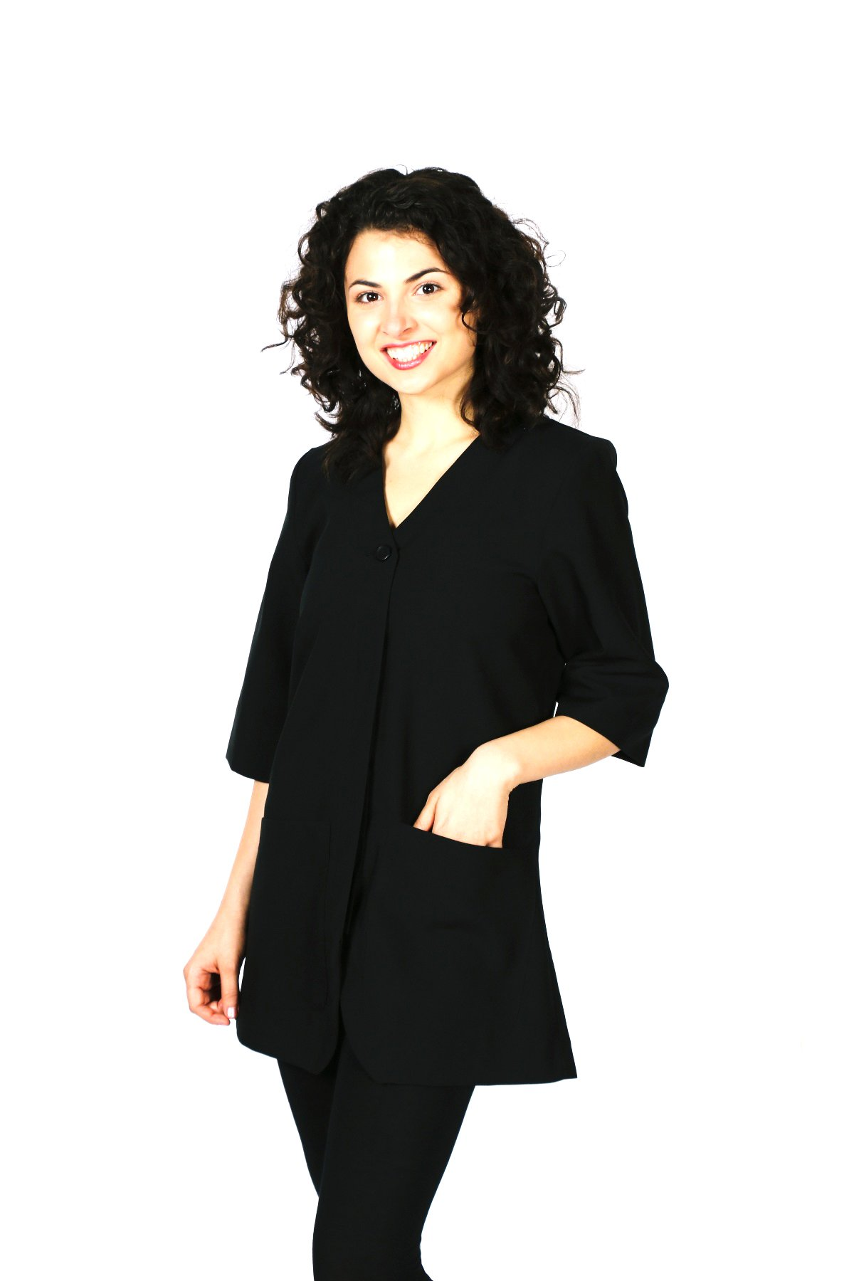 Smockers Judi Professional Salon Smock, Stylist Jacket, Cosmetology Uniform Black by Smockers