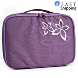 Lilac Floral Universal Slip Case with Handle for RCA DRC99310U 10-Inch Portable DVD Player