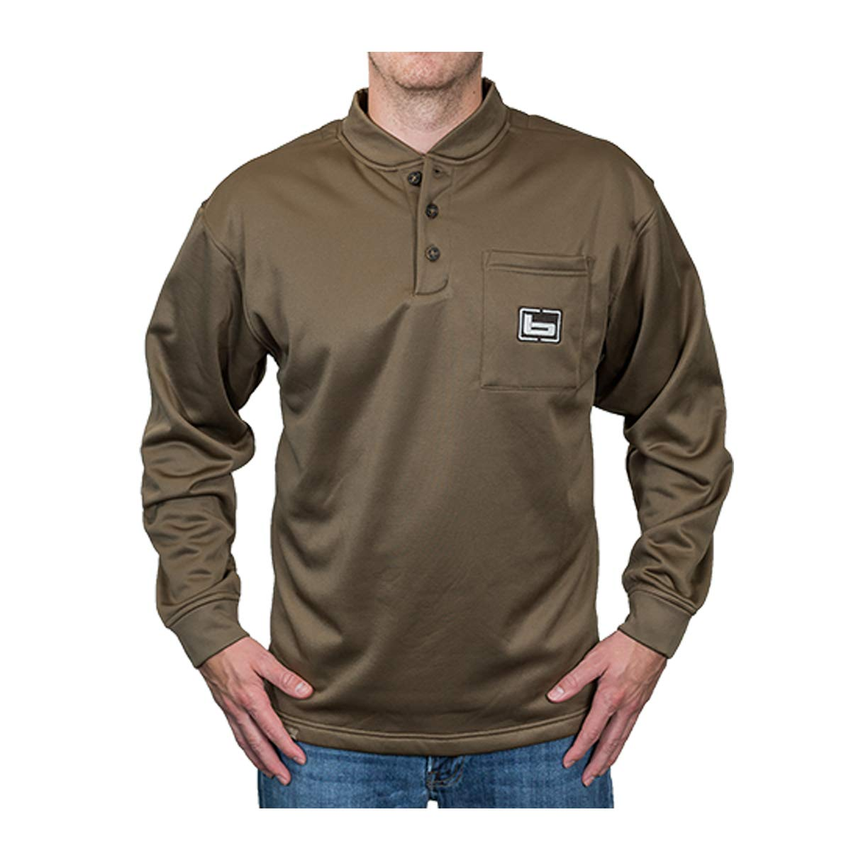 41c7a6dc Amazon.com: Banded Tec Fleece Henley Shirt: Clothing