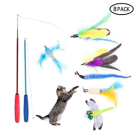 Umiwe - Juego de 9 Piezas de Juguetes interactivos para Gatos con 2 varitas y Plumas