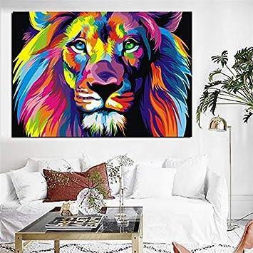Amazon.com: Karen Max acuarela león animales abstracto ...