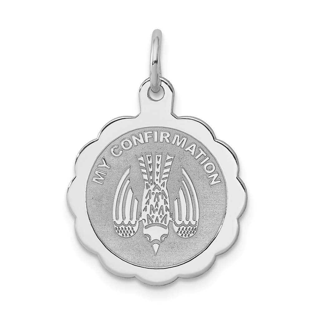 925 Sterling Silver Rhodium-plated My Confirmation Disc Charm