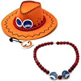 Rulercosplay One Piece Portgas D Ace Cowboy Hat Cosplay Hat + Necklace