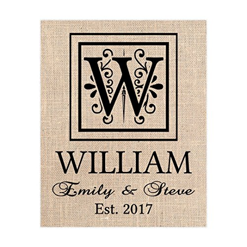 Decorative Name Sign, Personalized, Fabric Print, Gift for Couple, Wedding, Christmas, 8x10, 11x14 or 12x16 on Sultana Burlap