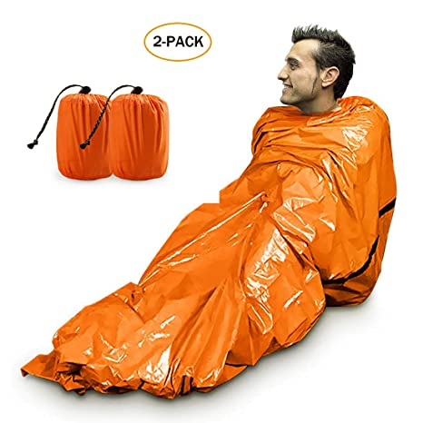 wholesale dealer d1ead c240d Zmoon Emergency Sleeping Bag, Lightweight Emergency Bivvy Survival Sleeping  Bag for Outdoor Camping and Hiking, Orange - 2 Pack