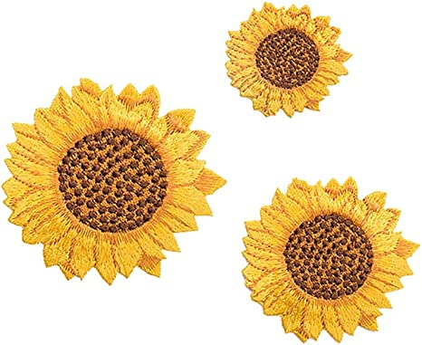 2 INCH Blue With Yellow Center Daisy Iron On Patch Applique Hippie Flower A-010