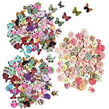 200pcs Bulk Buttons for Crafts Small Animal Colorful Wooden Buttons