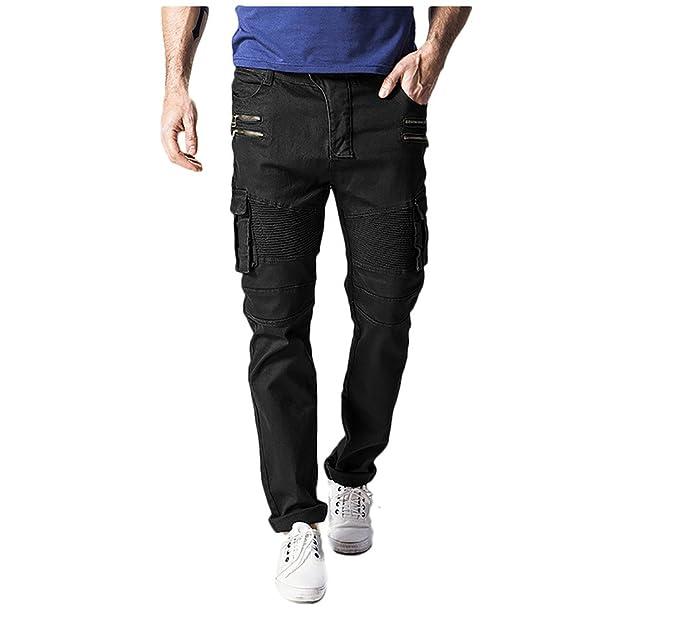 Amazon.com: WSLCN para hombre Chic pantalones cargo Jeans de ...