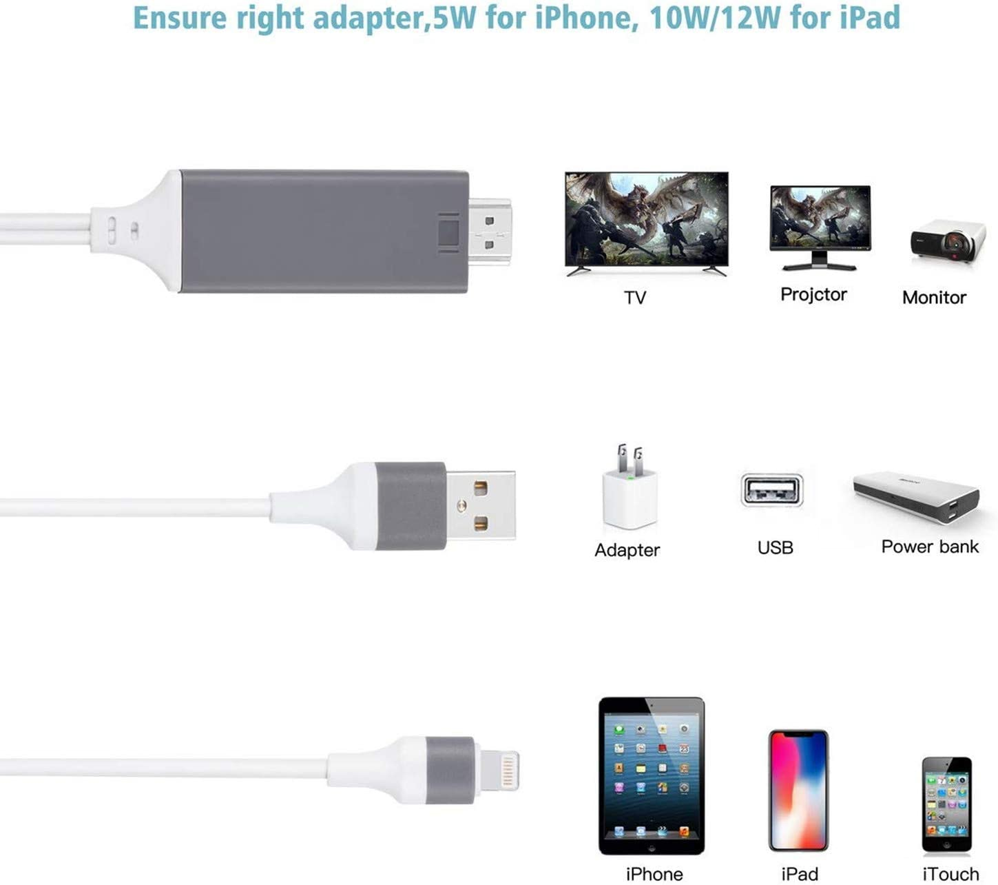 Compatible with iPhone iPad to HDMI Adapter Cable Aictoe 6.6ft Digital AV Adapter Cord Support 1080P HDTV Compatible with iPhone 11 Pro Xs MAX XR X 8 7 6s Plus iPad to TV Projector Monitor