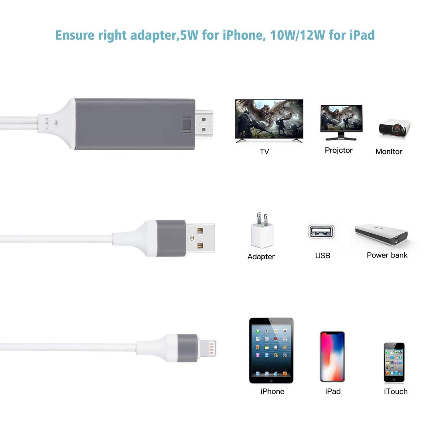 Compatible with iPhone iPad to HDMI Adapter Cable, Aictoe 6.6ft Digital AV Adapter Cord Support 1080P HDTV Compatible with iPhone 11 Pro Xs MAX XR X 8 7 6s Plus iPad to TV Projector (Grey)
