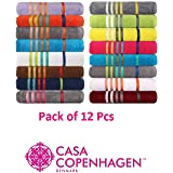 Casa Copenhagen 500 GSM 100% Combed Cotton Designer Hand Towels (40x60cm) Set of 12 Pcs - Assorted Colour - 12 Pack