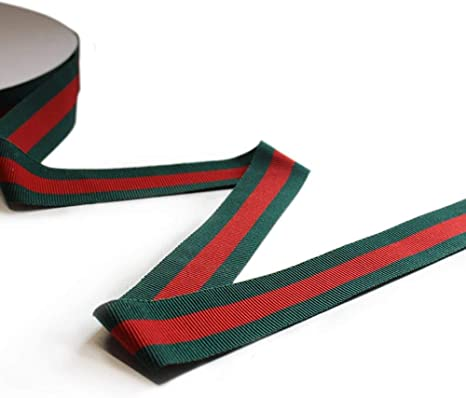 """10 Yards Green White Striped Center Wired Ribbon 1 1//2/""""W"""