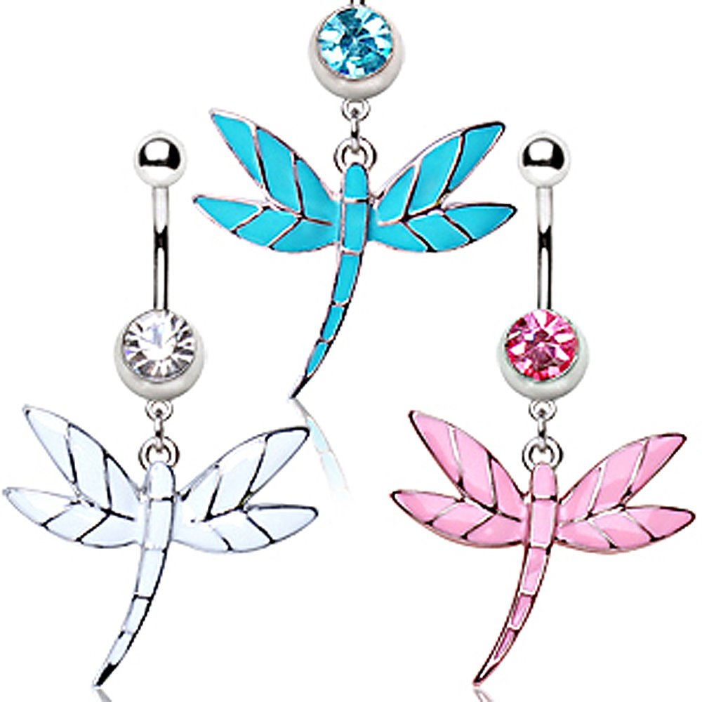 316L Surgical Steel Navel Ring with Dragonfly Dangle 14GA L:3//8 Sold Individually