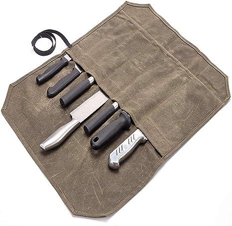 QEES - Bolsa para cuchillos de chef con 7 ranuras, estuche de almacenamiento de lona encerada, bolsa de rollo de herramientas resistente: Amazon.es: Deportes y aire libre