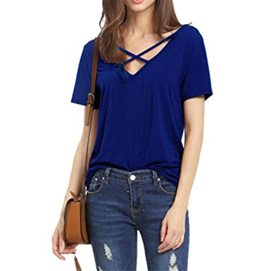 bdfdec6b26663 Bluestercool Women Short Sleeve V Neck Sexy Strap Solid Casual Basic T-Shirt  Top Blouse For Summer  Amazon.co.uk  Clothing