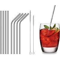 REDLEMON Kit de 8 Popotes de Metal Portátiles, 4 Rectos y 4 Curvos, 2 Cepillos Especiales para Limpieza y Bolsa para Transportar. Cuida el Medio Ambiente sin Utilizar Popotes de Plástico