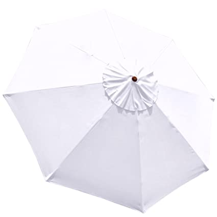 9 Feet Umbrella Replacement Sun Shade Polyester Canopy Top Cover 9 Ft Diameter 8-Rib for Outdoor Garden Back Yard Patio Beach Market Cafe 9' with UV Protection Rain - White Color
