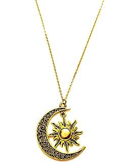 Style vintage en filigrane Or Grande Lune et soleil Pendentif Collier 5edde7f16772