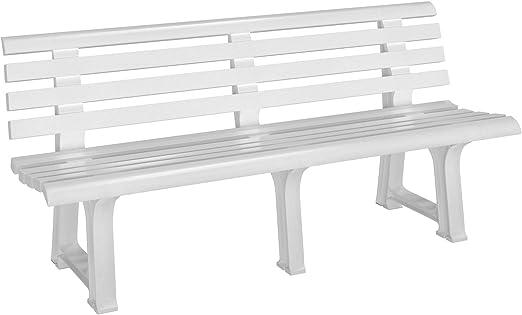 Casaria Banco de jardín Blanco Resistente a la Intemperie para 3 Personas 145x49x74 cm de plástico Duradero con Respaldo: Amazon.es: Jardín