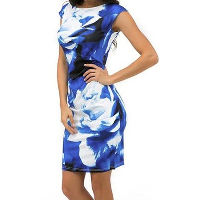 7c51525e54d3 Longra Damen Kleider Elegante Kleider Kurzarm Blumenkleider Sommerkleid  Blaues Kleid Bodycon Etuikleid Wickelkleid Frauen Kleider Schöne