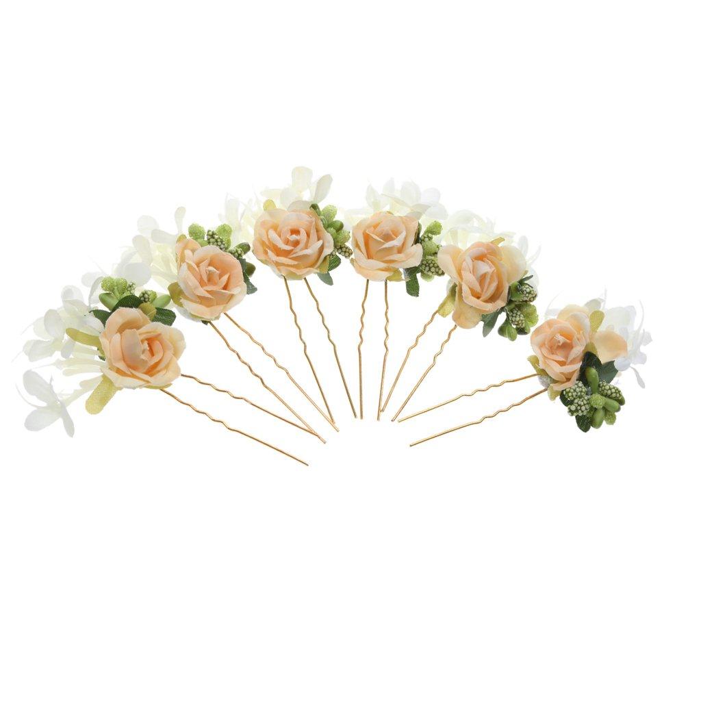 6pcs Horquillas de Flores Pelo de Palillo Guirnalda Accesorios Novia - Amarillo: Amazon.es: Joyería