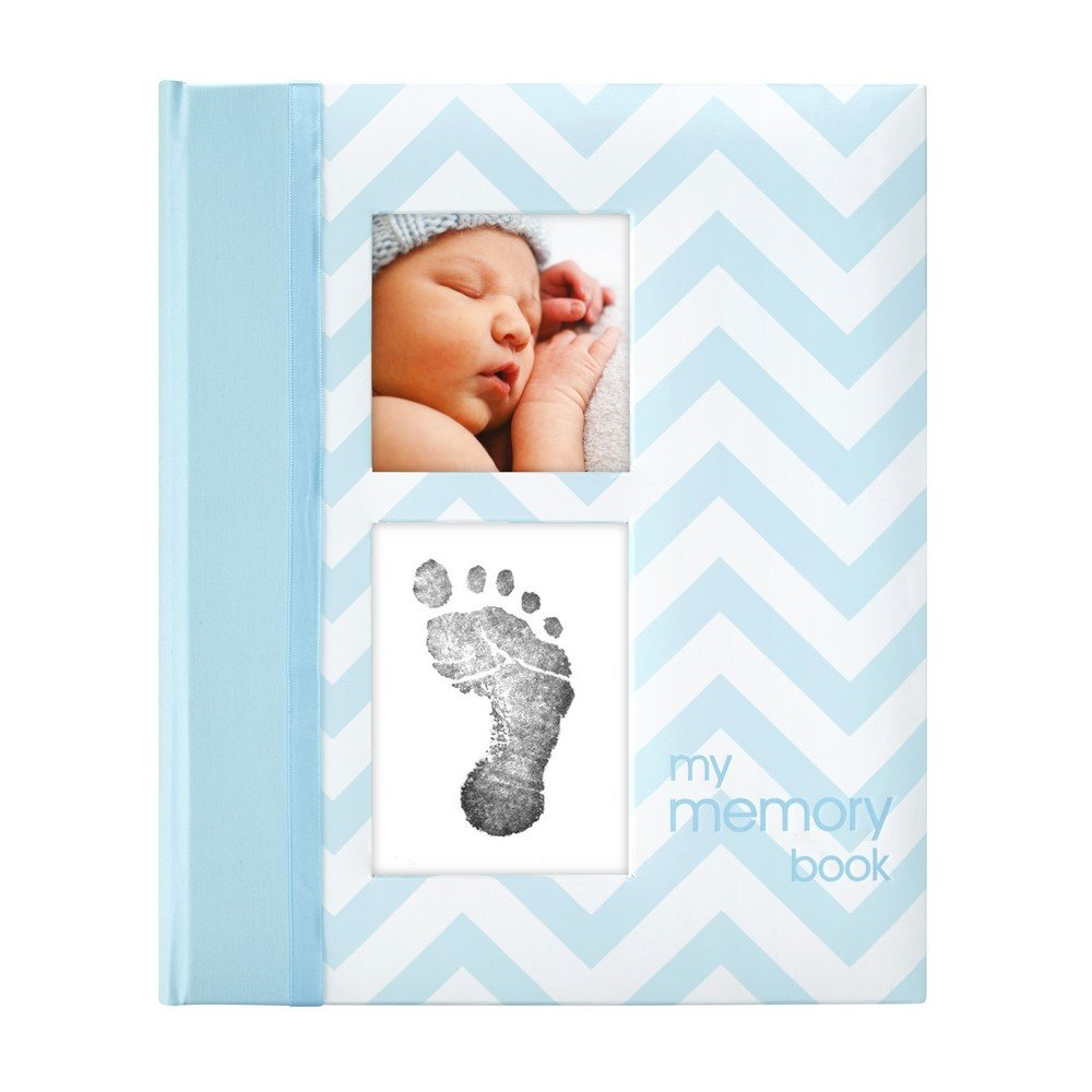 Pearhead First 5 Years Chevron Baby Memory Book with Clean-Touch Baby Safe Ink Pad to Make Baby s Hand or Footprint Included, Blue