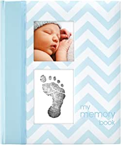 Pearhead Baby Memory Book with Ink Pad, Chevron Blue