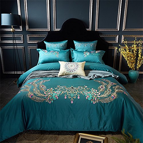 Brandream Teal Peacock Bedding Collections with Exquisite Embroidered Super Cosy & Durable Egyptian Cotton Duvet Cover Sets Full Size,4pcs