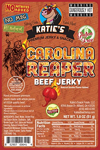 Carolina Reaper Spicy Beef Jerky-GLUTEN FREE - No Preservatives, Nitrites, or MSG