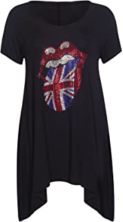 549970fb51 Rolling Stones Sequin Tees (Silver) at Amazon Women's Clothing store
