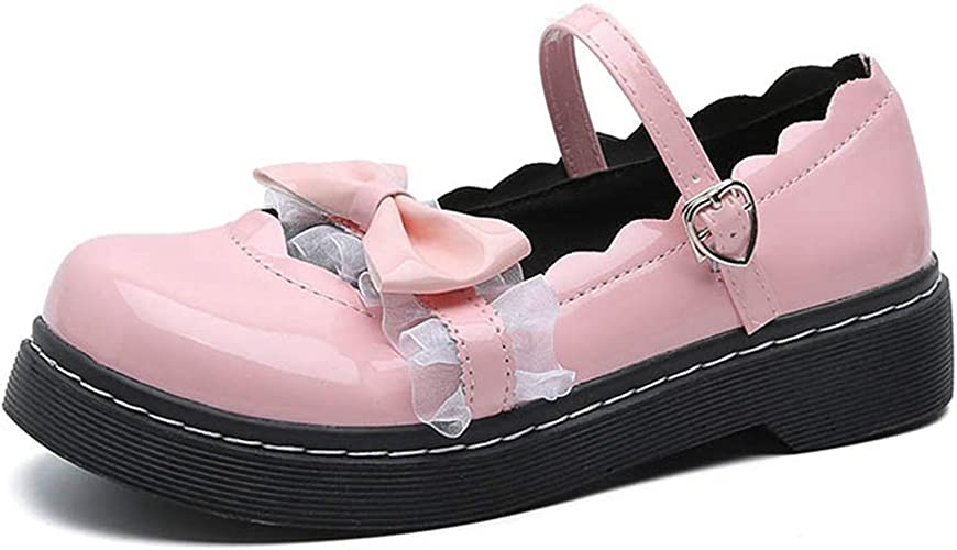 Ladies Ankle Strap Bowknot Cosplay Lolita Shoes Princess Party Round Toe Shoes