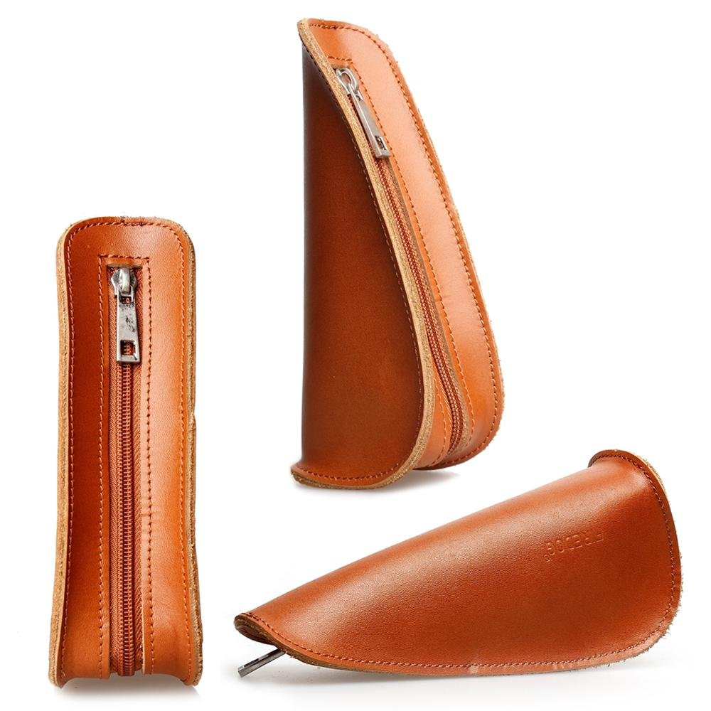 Tobacco Pipe Pouch 7'' Travel Portable Bag Single Top Leather Smoking Pipe pouch Holder CL09 (brown)